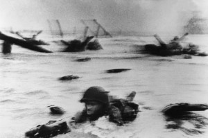 Capa's photograph from Omaha Beach
